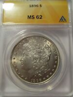1896-P MORGAN SILVER DOLLAR MINT STATE 62 ANACS