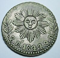 ARGENTINA 1844 CORDOBA 2 REALES ANTIQUE SILVER ARGENTINIAN TWO BIT SUN FACE COIN