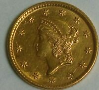 1853 US GOLD ONE DOLLAR COIN TYPE ONE