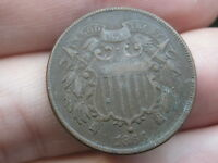 1866 TWO 2 CENT PIECE- CIVIL WAR TYPE COIN- FINE/VF DETAILS, WE SHOWING