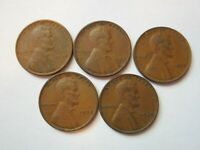 LINCOLN CENTS 1935 1936 S 1937 1938 1939 5 COINS