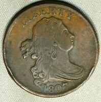 1807 1/2C DRAPED BUST HALF CENT VF  FINE  EARLY US TYPE