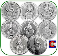 2016 2020 QUEEN'S BEAST 2 OZ SILVER COINS   8 COIN SET   LION TO WHITE LION