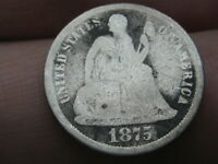 1875 P SEATED LIBERTY SILVER DIME- GOOD DETAILS