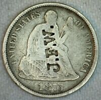 J F W COUNTERSTAMP ON 1875 CC SEATED LIBERTY SILVER DIME 10 CENT US TYPE COIN