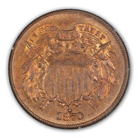 1870 2C TWO CENT PIECE PCGS MINT STATE 65RD