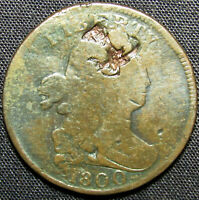1800 US DRAPED BUST HALF CENT COPPER COIN   CHINESE CHOP MAR