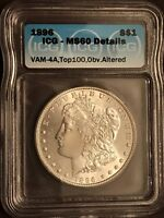 1896 P MINT STATE 60 VAM 4A TOP 100 MORGAN SILVER DOLLAR