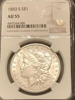1883 S AU 55 WITH  LUSTER MORGN SILVER DOLLAR