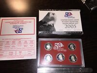 2005 S US MINT STATE QUARTERS SILVER PROOF COIN SET W/BOX CO