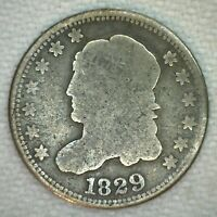 1829 US HALF DIME CAPPED BUST SILVER GOOD