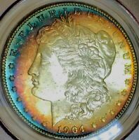 1904 O MORGAN SILVER DOLLAR NEW ORLEANS CRESCENT RAINBOW TONING WOWZA PCGS MINT STATE 64