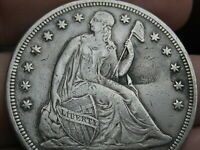 1867 SEATED LIBERTY SILVER DOLLAR- EXTRA FINE  DETAILS,  DATE