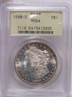 1880-S PCGS MINT STATE 64 MORGAN DOLLAR OGH SHIPS FREE