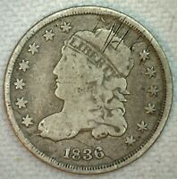 1836 US HALF DIME SILVER CAPPED BUST TYPE COIN GOOD DAMAGED H10C