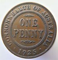 1925  AUSTRALIA PENNY   6 CLEAR PEARLS     LOW MINTAGE COIN