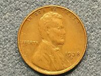 1938 D LINCOLN WHEAT CENT, EXTRA FINE