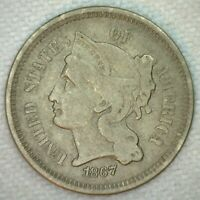 1867 THREE CENT NICKEL US TYPE COIN 3C FINE COPPER-NICKEL 3 CENTS COIN
