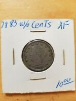 1883 LIBERTY HEAD NICKEL WITHOUT CENTS EXTRA FINE