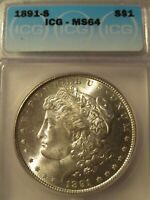 1891-S MORGAN SILVER DOLLAR ICG MINT STATE 64