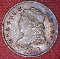 CENSUS-LEVEL  TONED 1832 LM-14 VALENTINE-7 CAPPED BUST HALF DIME - 39351088