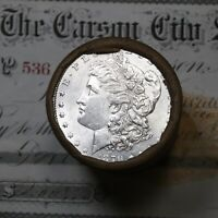1879 & CC CARSON CITY ENDS ON THIS SHOTGUN ROLL OF MORGAN SILVER DOLLARS UNC