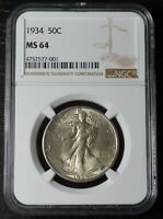 1934 50C STANDING LIBERTY HALF DOLLAR GRADED BY NGC AS MINT STATE 64