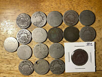LOT OF 18 LOW GRADE / CULL SHIELD NICKELS