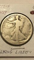 1917-S OBVERSE AND 1-S REVERSE WALKING LIBERTY SILVER HALF DOLLARS KEY DATE