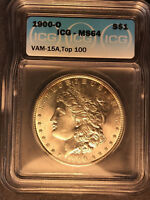 1900-O MINT STATE 64 VAM 15A DOUBLED STARS TOP 100 TONED MORGAN SILVE DOLLAR  LUSTER