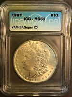 1887 P MINT STATE 61 VAM 3A SUPER CD LDS MORGAN SILVER DOLLAR