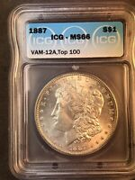 1887 ICG MINT STATE 66 SUPURB LUSTER VAM 12 A TOP 100 ALLIGATOR EYE MORGAN SILVER DOLLAR