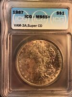 1887 ICG MINT STATE 65 VAM 3A SUPER CD LDS CLASHED OBVERSE N,T MORGAN SILVER DOLLAR