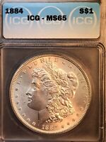 GORGEOUS PAIR 2 OF 1884 P ICG MINT STATE 65 MORGAN SILVER DOLLARS WITH HIGH LUSTER