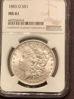 ATTRACTIVE 1883 O NGC MINT STATE 61 MORGAN SILVER DOLLAR WITH  LUSTER