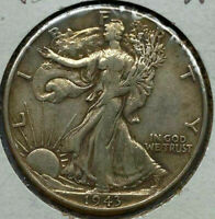 1943 WALKING LIBERTY HALF DOLLAR EXTRA FINE  LIGHT TONING