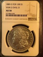 1889 O NGC AU58 VAM 2 OVAL O TOP 100 MORGAN SILVER DOLLAR