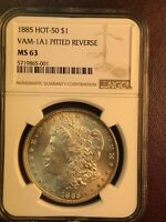 1885 P NGC MINT STATE 63 VAM 1A1 PITTED REVERSE, RIM TONING, HOT 50 MORGAN SILVER DOLLAR