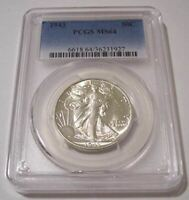 1943 WALKING LIBERTY HALF DOLLAR MINT STATE 64 PCGS