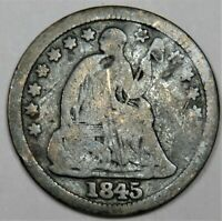 1845-P SILVER SEATED LIBERTY HALF DIME H10C US COIN 21667