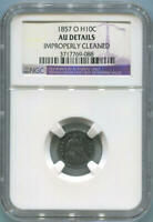1857 O SEATED HALF DIME, NGC. AU DETAILS. NEW ORLEANS