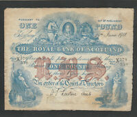 F38 ROYAL BANK OF SCOTLAND 1918 POUND P 316D IN HIGH CLEAN GRADE