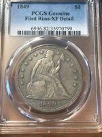 1849 LIBERTY SEATED DOLLAR   PCGS XF DETAILS