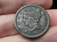 1852 BRAIDED HAIR LARGE CENT PENNY- VF/EXTRA FINE  DETAILS