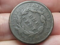 1823 OR 1833 MATRON HEAD LARGE CENT PENNY- ROTATED REVERSE MINT ERROR