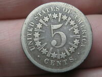 1866 SHIELD NICKEL 5 CENT PIECE- WITH RAYS, GOOD/VG DETAILS