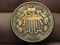 1864 TWO 2 CENT PIECE- LARGE MOTTO, FINE/VF DETAILS, REVERSE DIE CRACKS