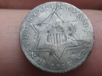 1855 THREE 3 CENT SILVER,  KEY DATE, VG/FINE DETAILS RPD, REPUNCHED DATE