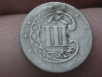1855 THREE 3 CENT SILVER,  KEY DATE- RPD, REPUNCHED DATE