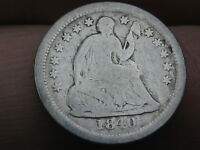 1840 O SEATED LIBERTY HALF DIME- WITH DRAPERY, VG DETAILS